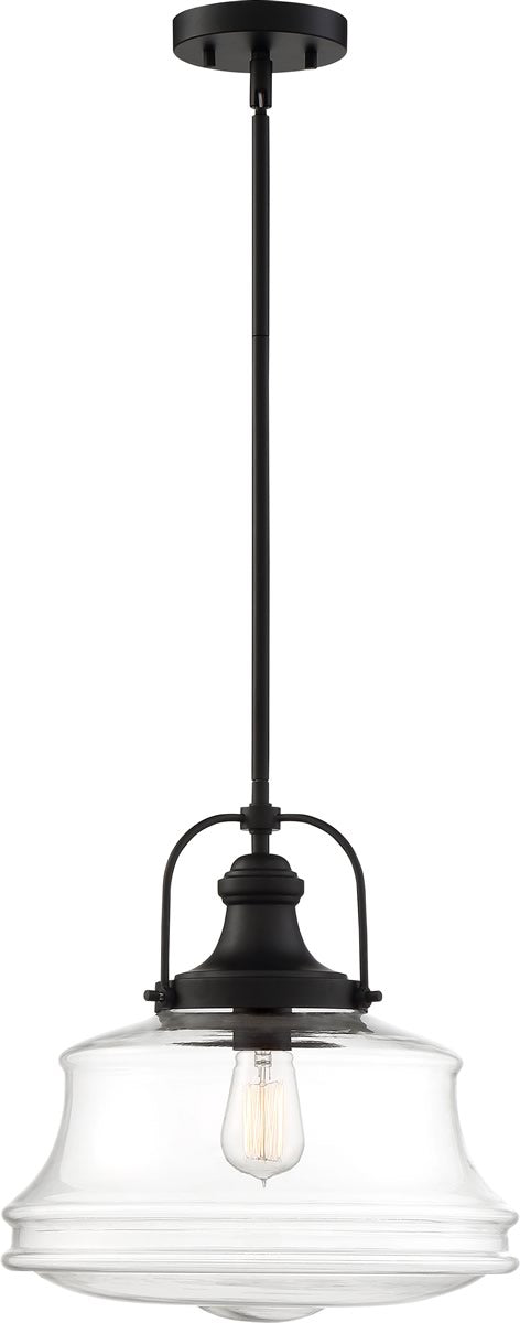 "14""W Basel 1-Light Pendant Matte Black / Clear"