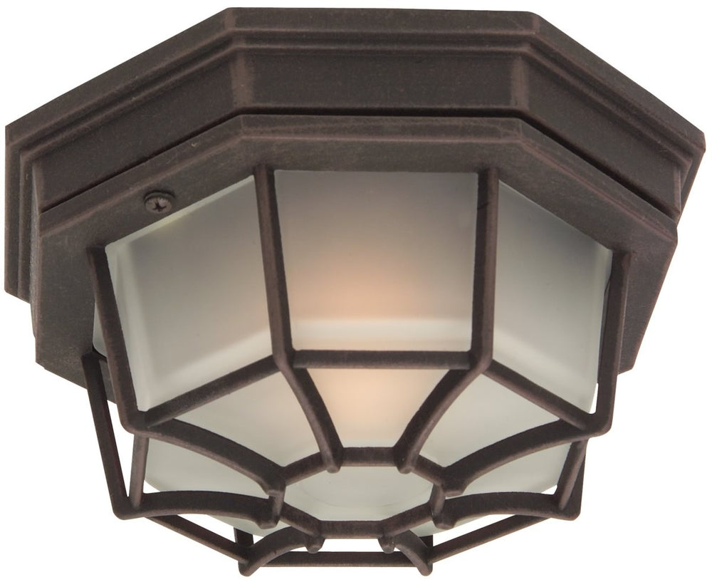 Bulkhead 1-Light Outdoor Flush Mount Rust