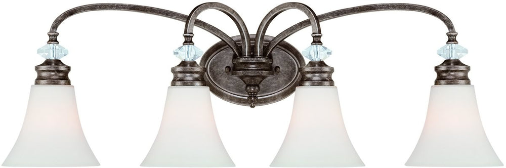 "33""w Boulevard 4-Light Bath Vanity Light Mocha BronzeSilver Accents"