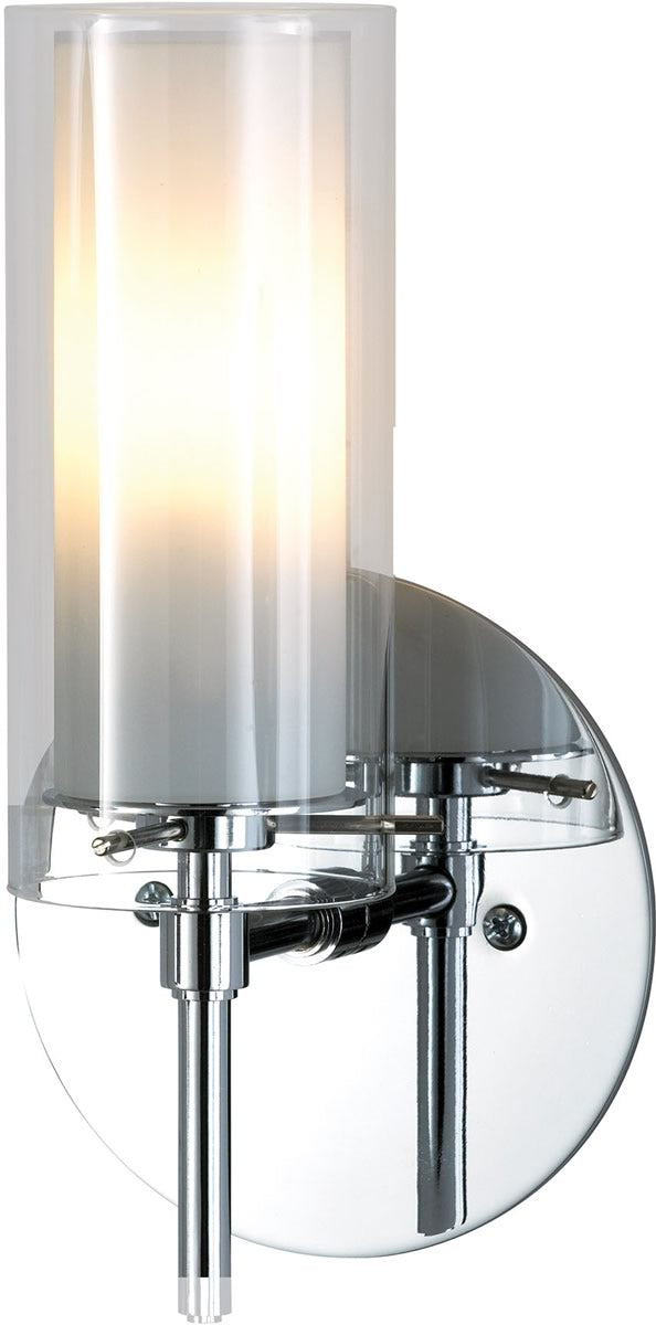 "5""W Tubolaire 1-Light Sconce Chrome/Clear Outer Glass/Frosted Interior Glass"