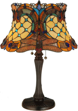 "23""H Hanging-head Dragonfly  2-Light Tiffany Table Lamp Brown"