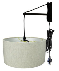 MAST Plug-In Wall Mount Pendant, 1 Light Black Cord/Arm, Textured Oatmeal Shade 18x18x10