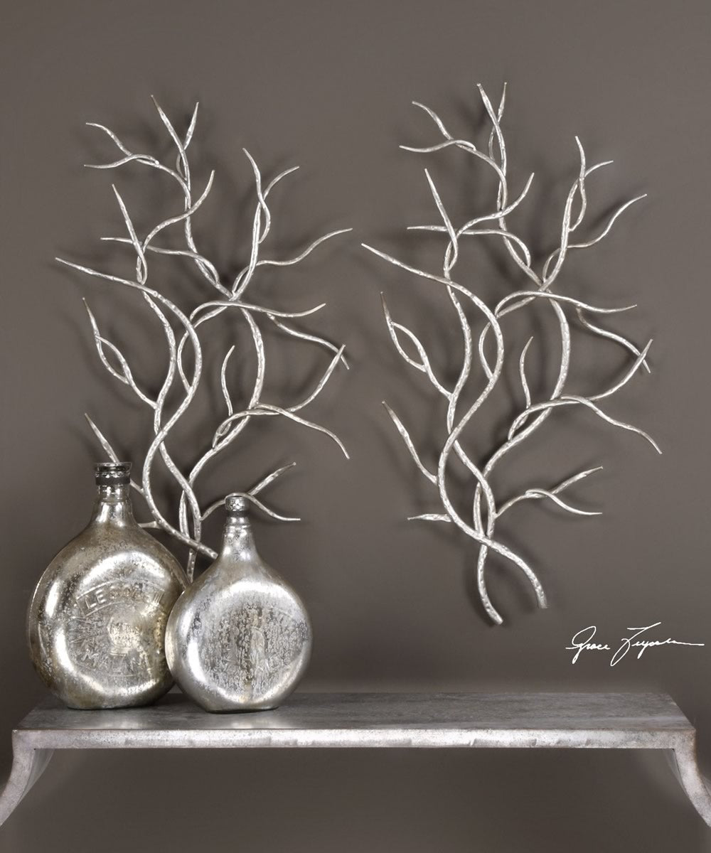 "37""H x 21""W Silver Branches Wall Art Set of 2"