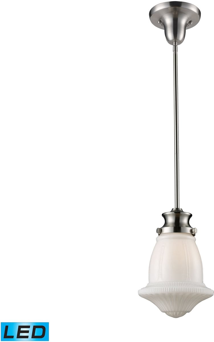 "8""W Schoolhouse Pendants 1-Light LED Pendant Satin Nickel/White Glass"