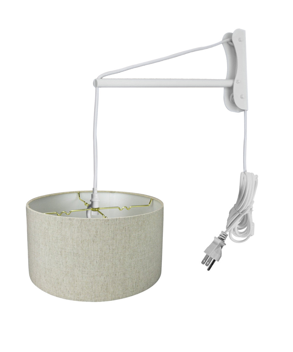 "14""W MAST Plug-In Wall Mount Pendant 2 Light White Cord/Arm with Diffuser Textured Oatmeal Shade"