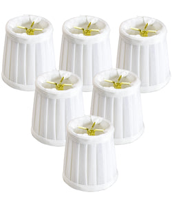 "4""W x 4""H Set of 6 Down White Pleated Clip-on Candelabra Lampshade"