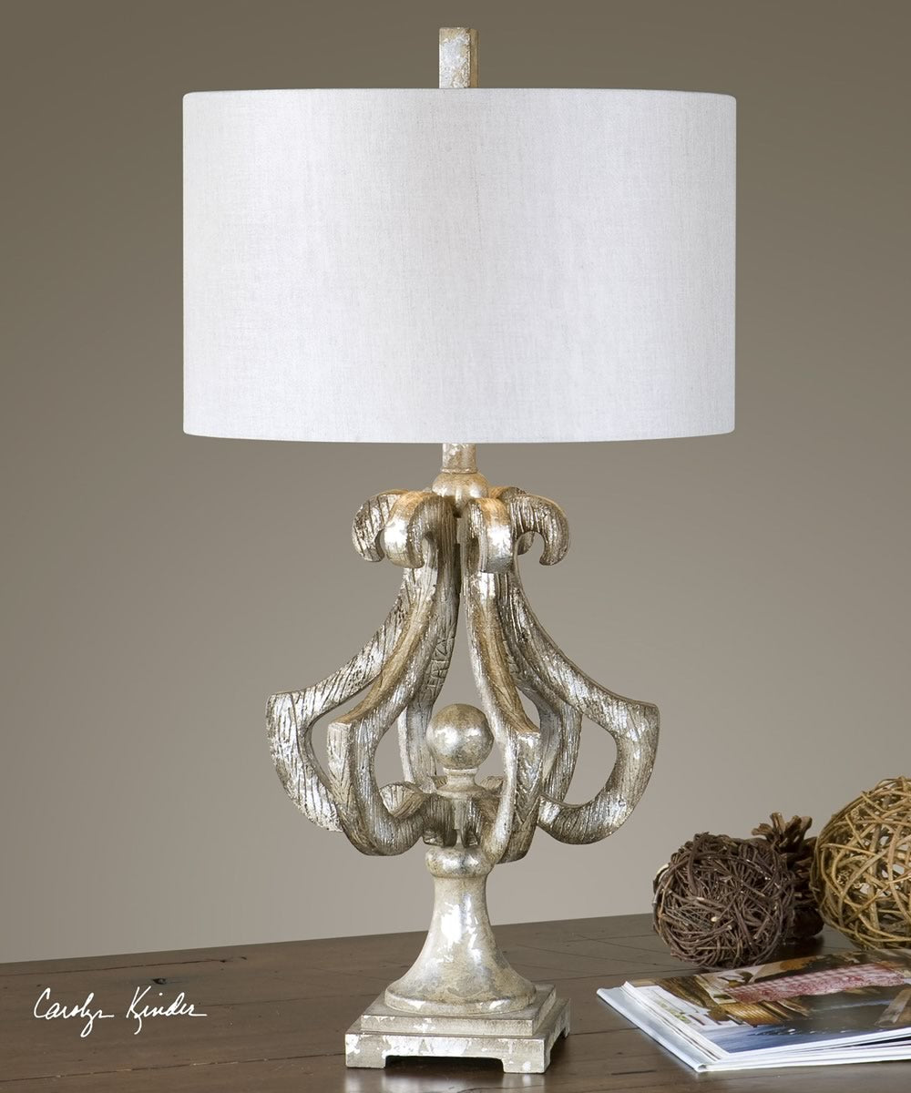 "33""H Vinadio Distressed Silver Table Lamp"