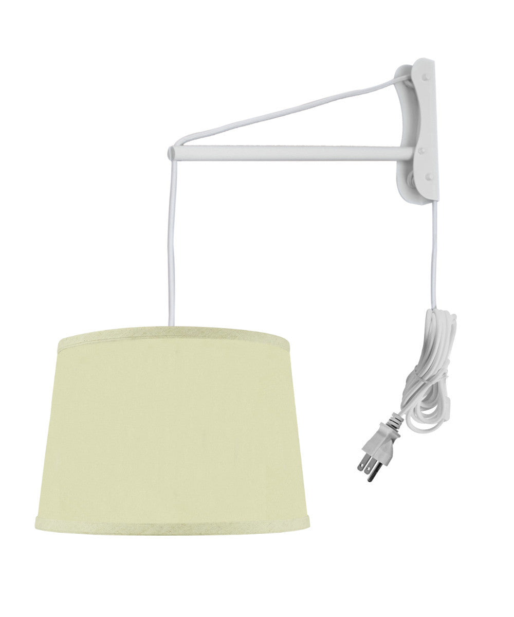 MAST Plug-In Wall Mount Pendant, 1 Light White Cord/Arm, Drum Egg Shell Shantung Shade 10x12x08