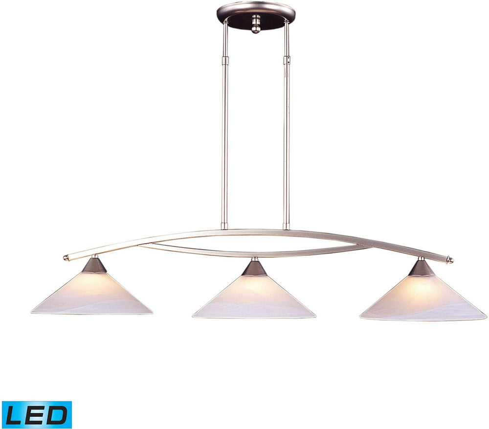 "12""W Elysburg 3-Light LED Island Satin Nickel/White Glass"