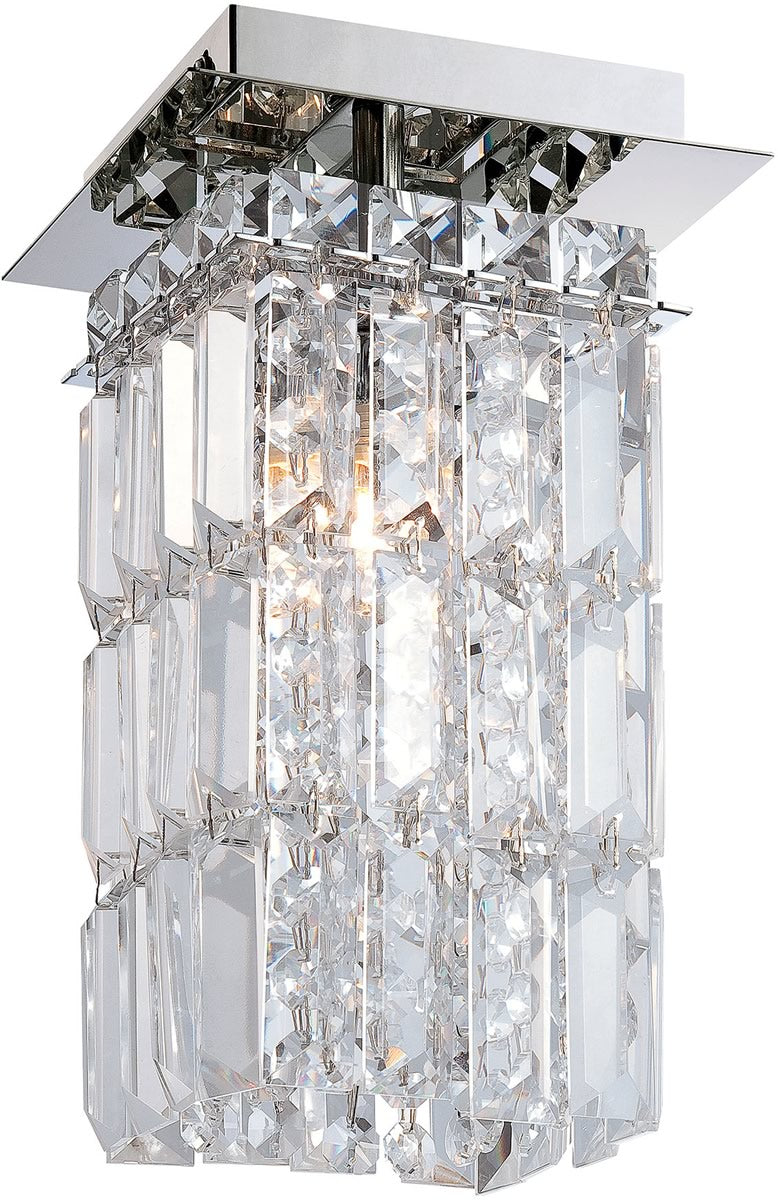 "5""W King 1-Light Flushmount Chrome/Clear Crystal Glass"
