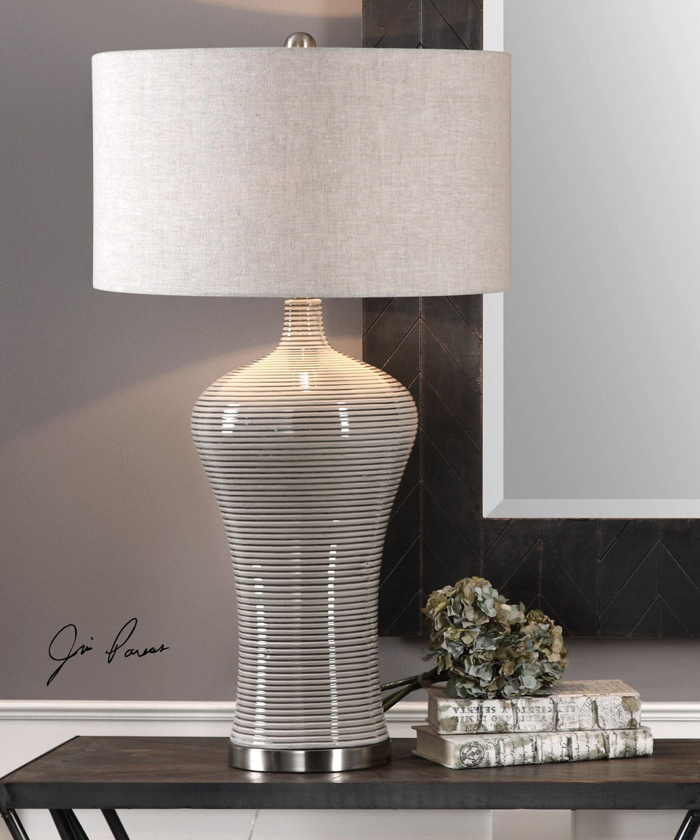 "34""H Dubrava Light Gray Table Lamp"