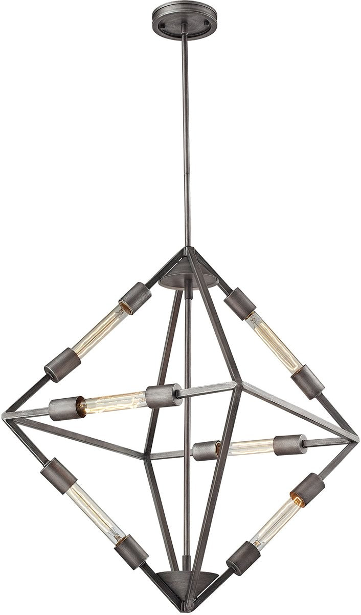 "20""W Laboratory 6-Light Chandelier Weathered Zinc - Bulbs Included"