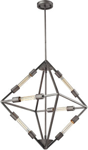 Laboratory 6-Light Chandelier Weathered Zinc - Bulbs Included