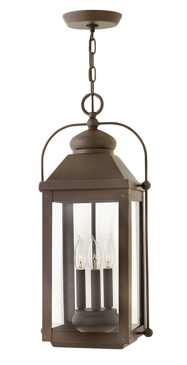 "11""W Anchorage 3-Light Outdoor Hanging Light in Light Oiled Bronze"