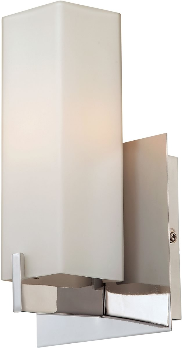 "5""W Moderno 1-Light Sconce Matte Satin Nickel/White Opal Glass"