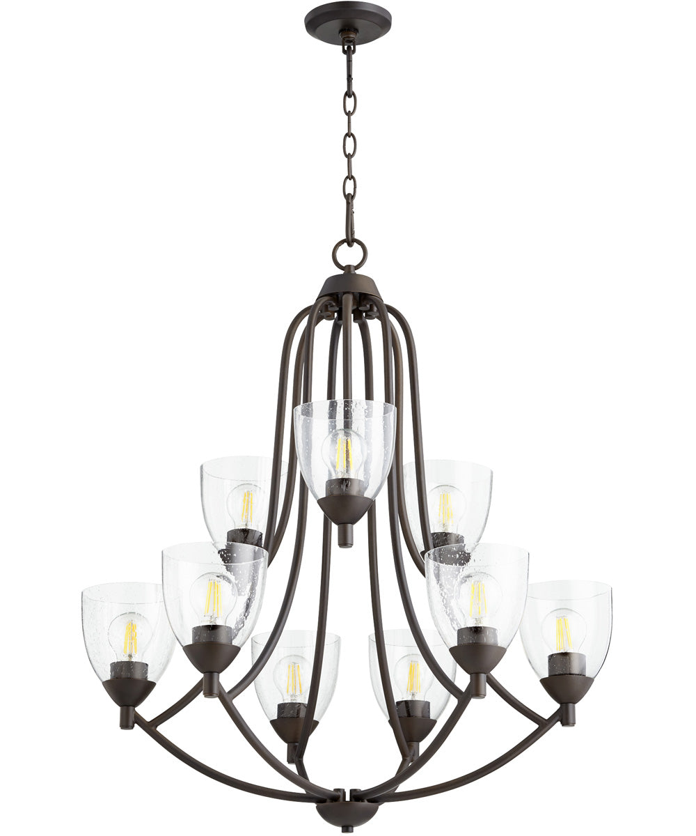"27""W Barkley 9-light Chandelier Oiled Bronze w/ Clear/Seeded"