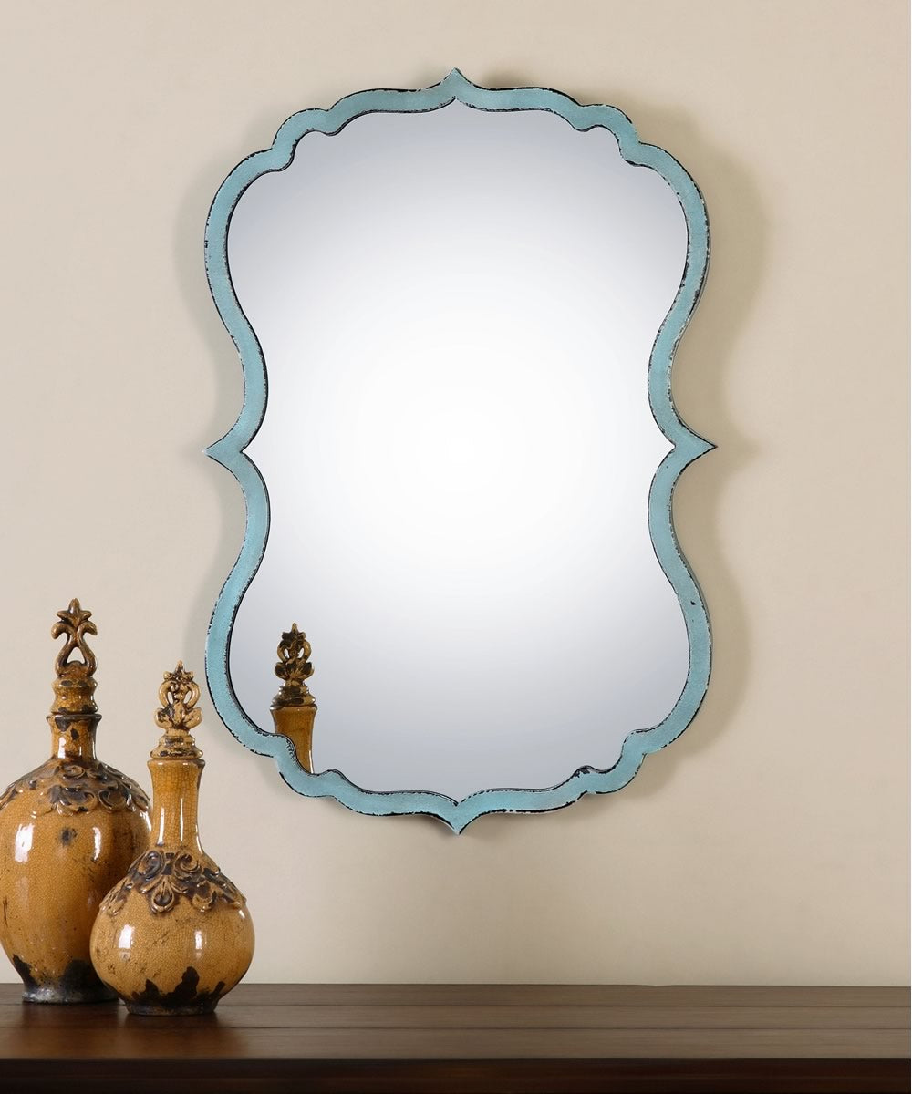"27""H x 18""W Nicola Light Blue Mirror"