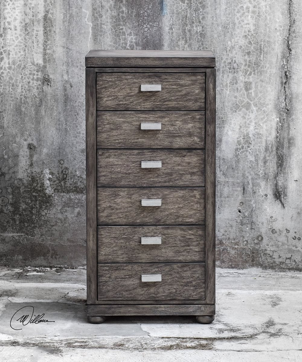"42""H Chayton Driftwood Gray Drawer Chest"