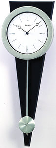 OPEN BOX Wall Clock Silver-Tone On Black Solid Wood Base