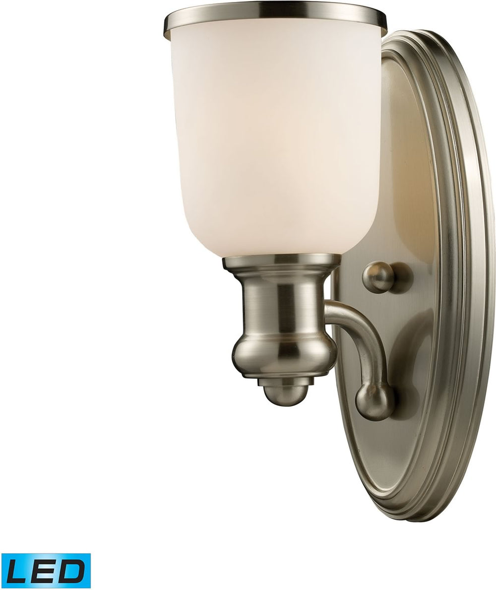 "5""W Brooksdale 1-Light LED Wall Sconce Satin Nickel/White Glass"