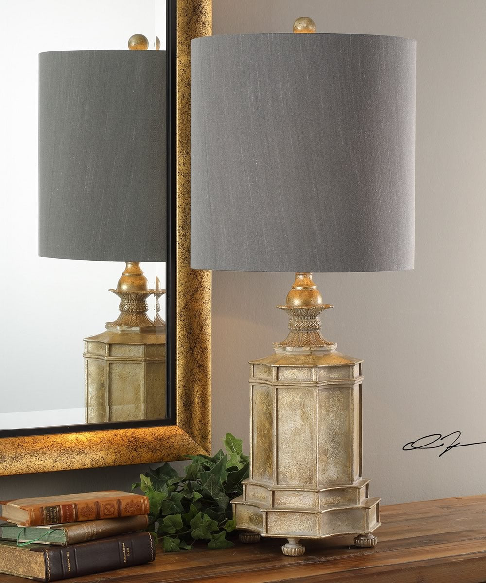 "32""H Falerone Distressed Golden Lamp"