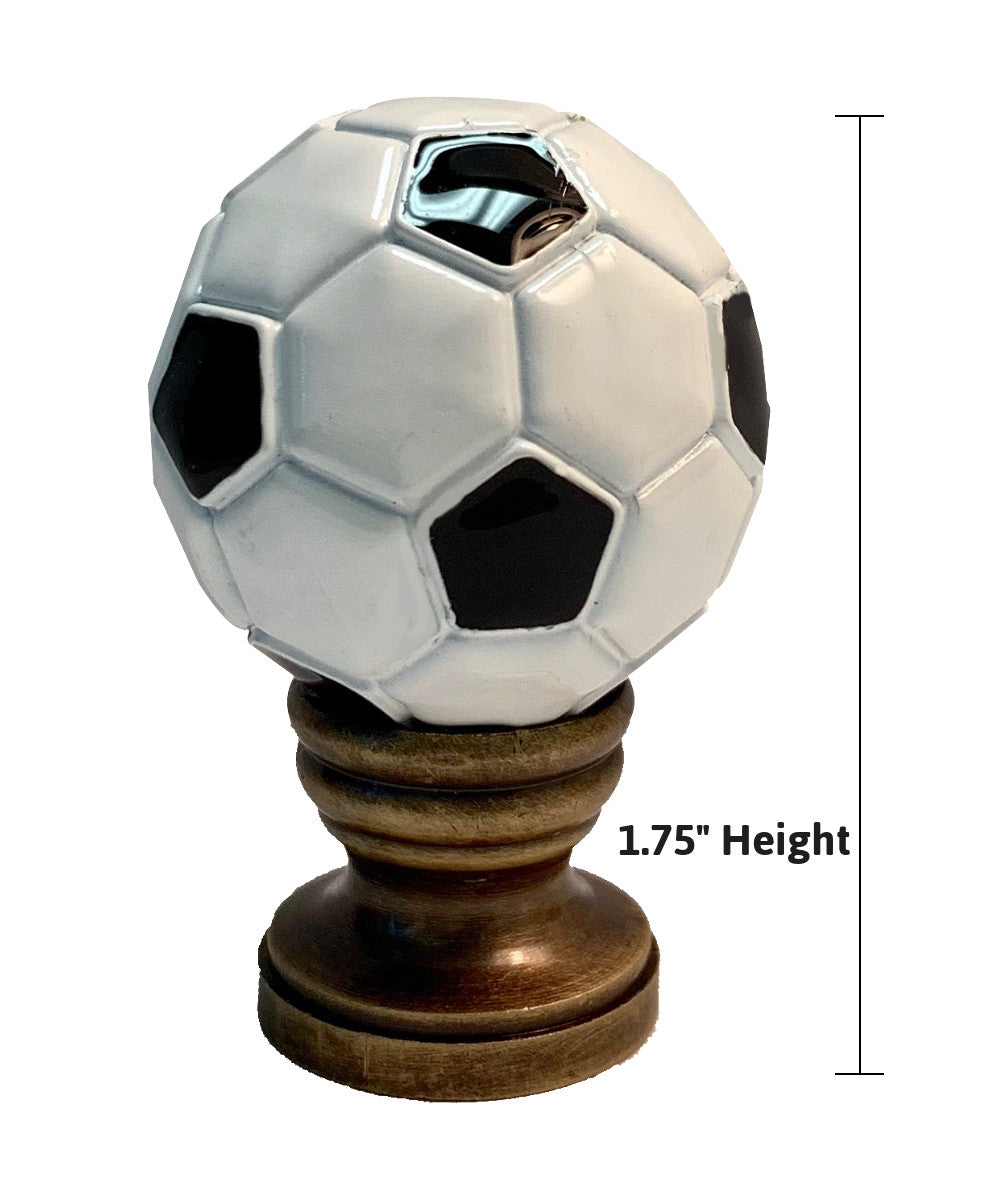 "2""H Alloy Soccer Ball Lamp Finial Antiqued Brass Base"