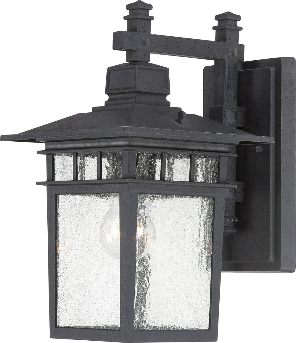 "14""H Cove Neck 1-Light Outdoor Textured Black"