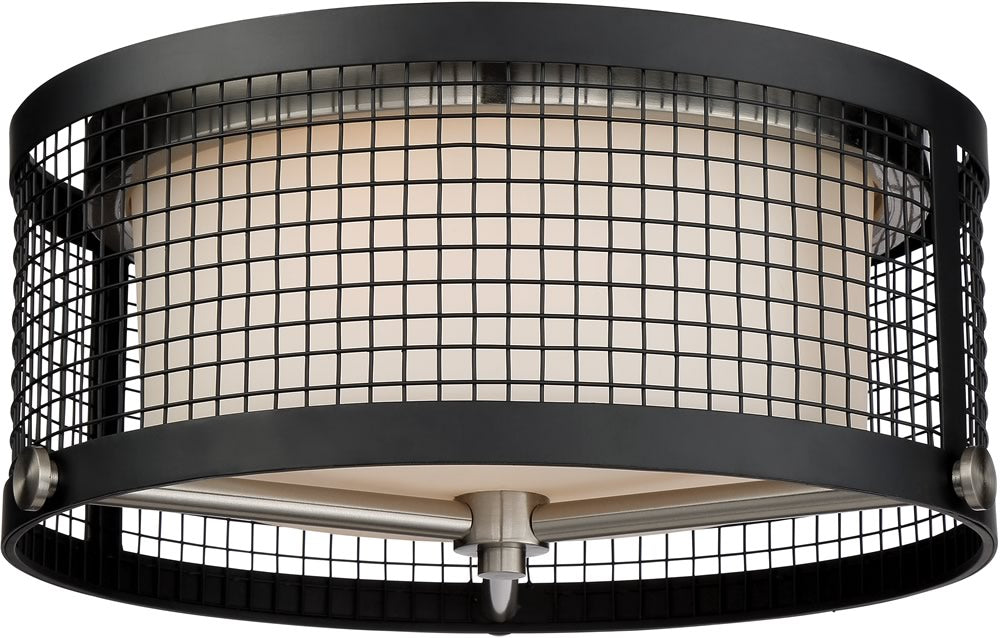 "17""W Pratt 3-Light Close-to-Ceiling Black / Brushed Nickel Accents"