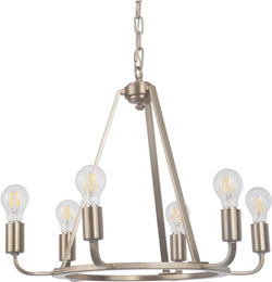0-002990>Arc 6-Light Chandelier Satin Brass
