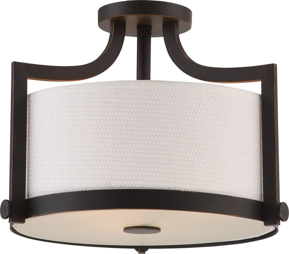 "16""W Meadow 3-Light Close-to-Ceiling Russet Bronze"