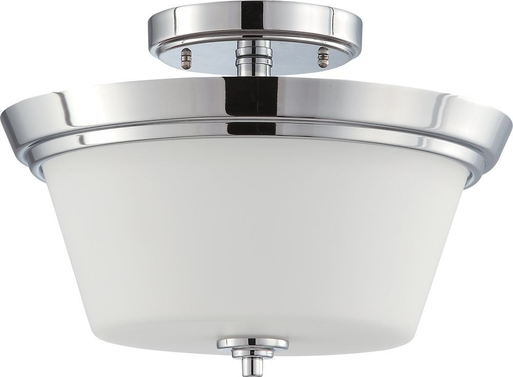 Bento 2-Light Close-to-Ceiling Polished Chrome / Satin White