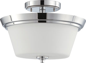 "13""W Bento 2-Light Close-to-Ceiling Polished Chrome / Satin White"