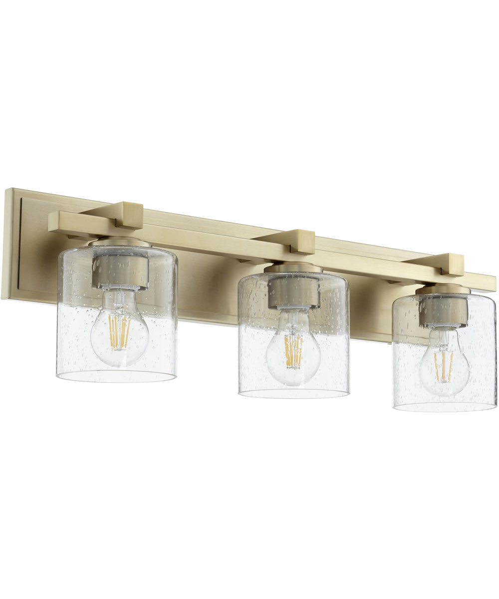 3-light Bath Vanity Light Aged Brass w/ Clear/Seeded