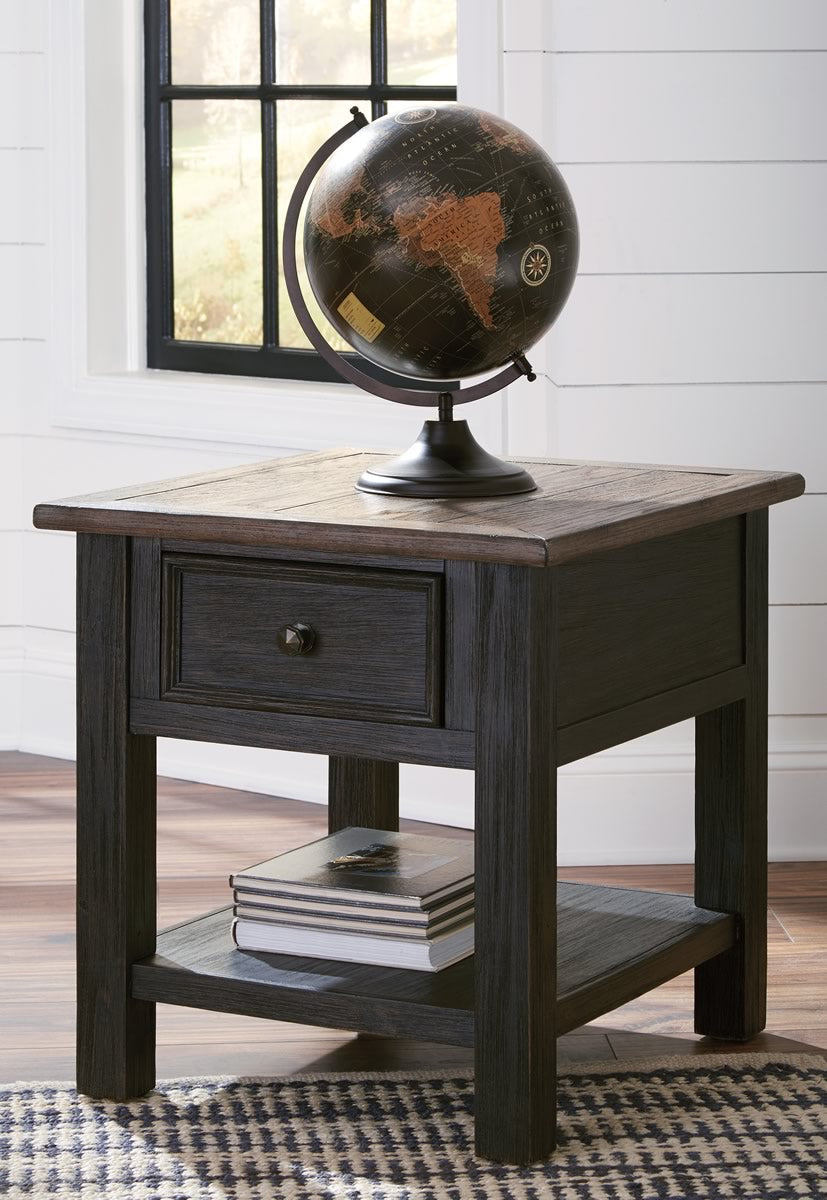 "25""H Tyler Creek Rectangular End Table Grayish Brown/Black"