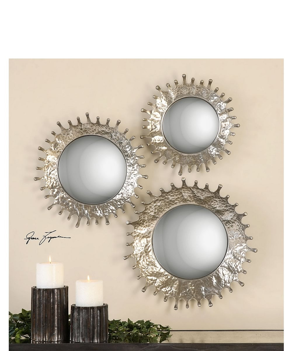 "20""H Rain Splash Round Mirrors Set of 3"