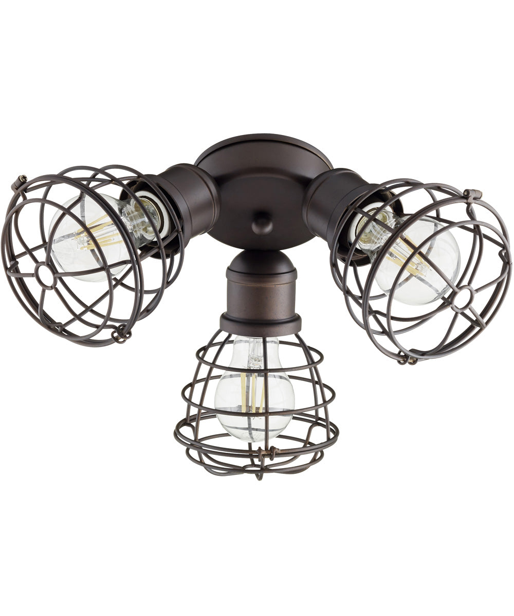 3-light LED Patio Ceiling Fan Light Kit Oiled Bronze