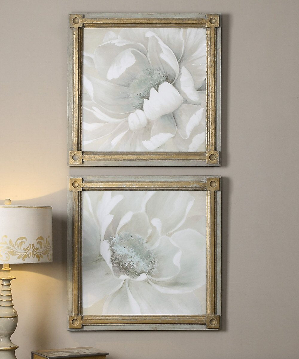 "29""H Winter Blooms Floral Art Set of 2"