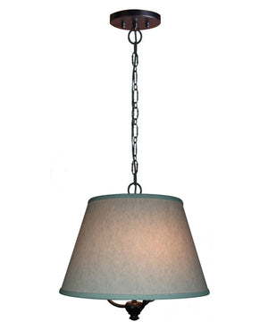 "16""W Three light pendant in antique black Finish with Textured Oatmeal Slotted Pendant Empire Shade"