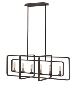 Quentin 6-Light Stem Hung Linear in Aged Zinc