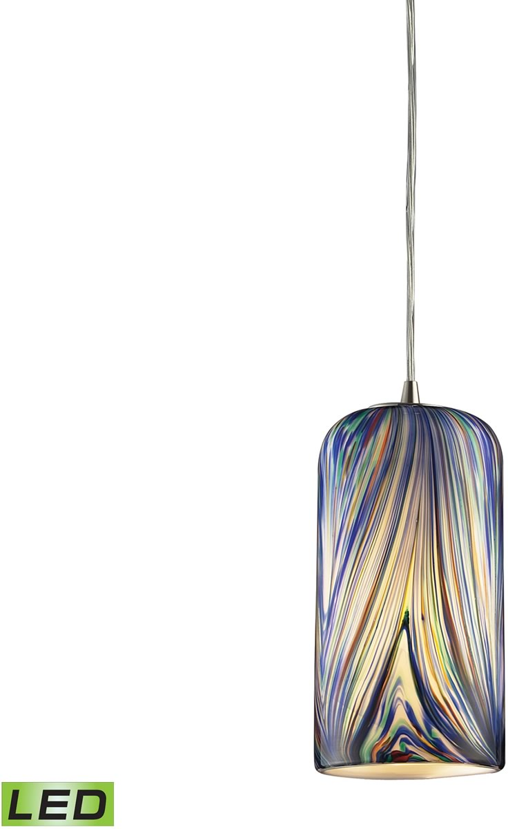 "5""W Molten 1-Light LED Pendant Satin Nickel/Molten Ocean Glass"