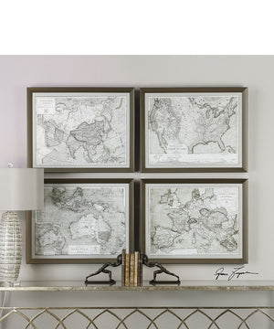 "22""H x 28""W World Maps Framed Prints Set of 4"