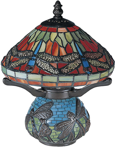 Dale Tiffany Red Dragonfly Mini Lamp Antique Brass Plating 8774