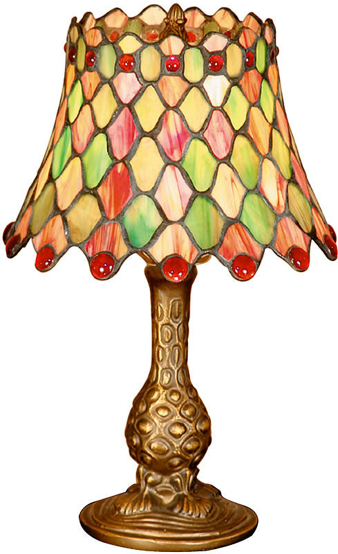 "14""h Tiffany Manti Accent Lamp Antique Brass"
