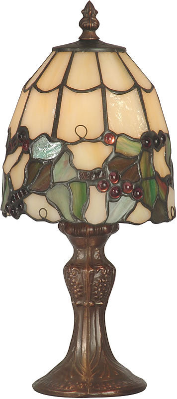 "13""h Tiffany Grape Small Accent Lamp Antique Brass"