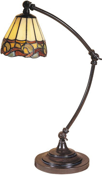 "20""H 1-Light Tiffany Desk Lamp Mica Bronze"