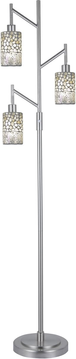 "Alps 68""H 3-Light Floor Lamp Satin Nickel"