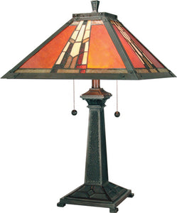 Dale Tiffany Amber Monarch 2-Light Table Lamp Mica Bronze TT100716