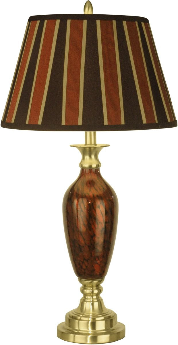 "29""h 1-Light 3-Way Art Glass Table Lamp Antique Brass"