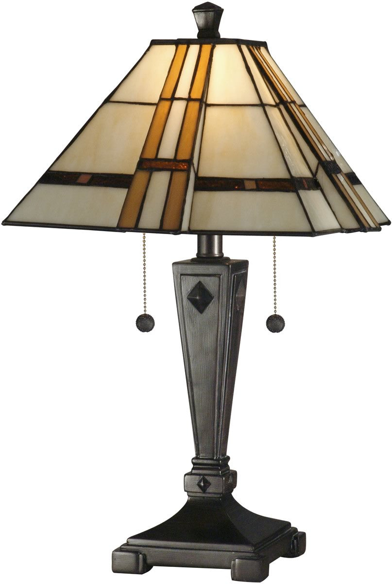 "22""H 2-Light Tiffany Table Lamp Mica Bronze"
