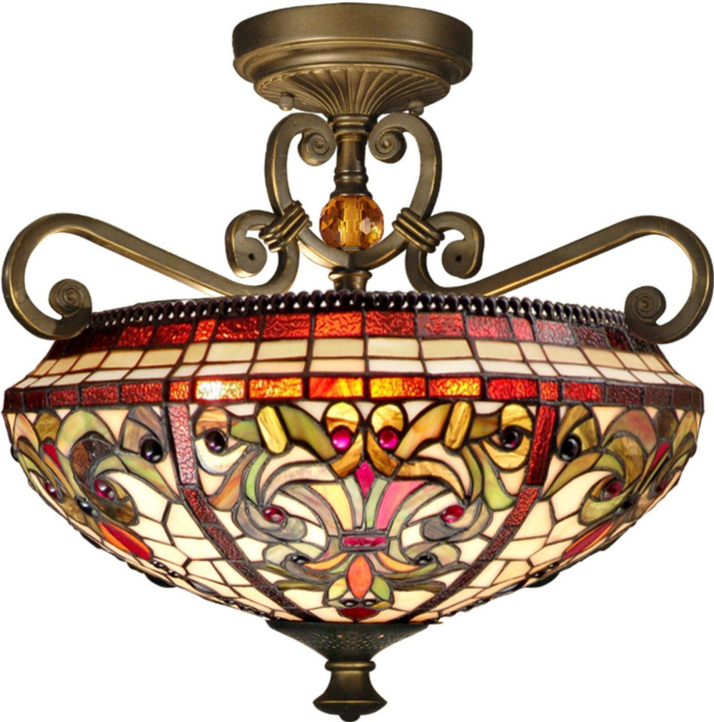 "17""W Baroque 2-Light Flush Mount Antique Golden Sand"